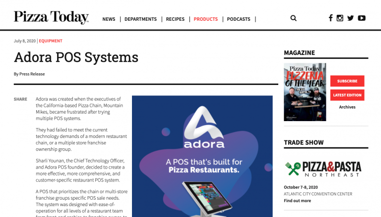 PRESS RELEASE: Adora POS in Pizza Today